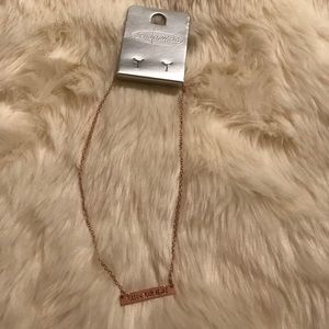Rose Gold Bar Necklace NWT
